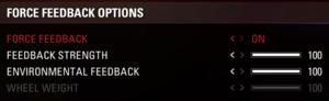 In-game force feedback settings.