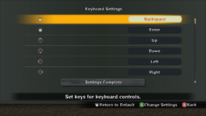 Keyboard rebinding, can be accessed from title screen by pressing button corresponding to LB (Q).