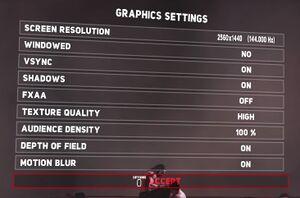Graphics Settings menu