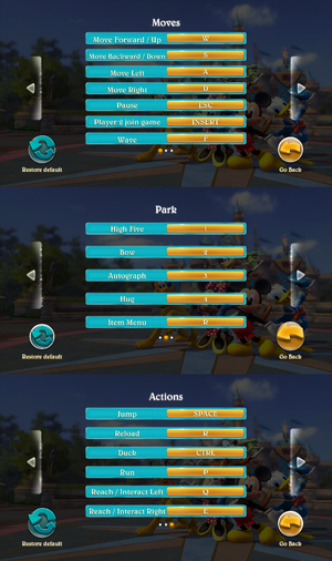 Keyboard settings; moves, park and actions.