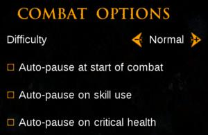 In-game combat settings.