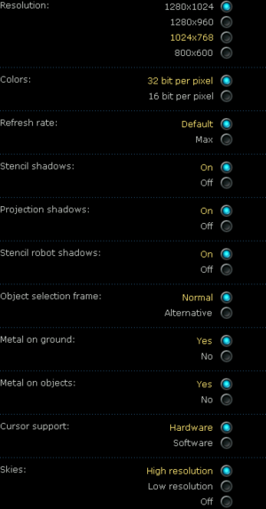 Video settings from expansion for Planetary battles.