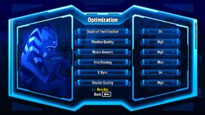 Graphics Optimization settings.