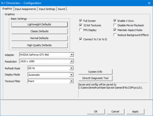 Video settings from external configuration tool.