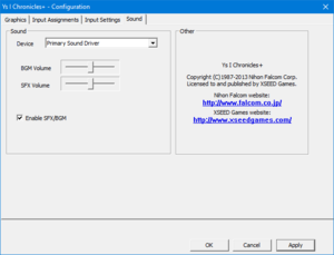 Audio settings from external configuration tool.