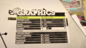 Graphical settings.