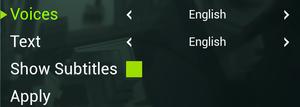 In-game General language settings.