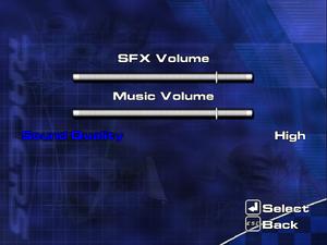 Sound settings menu.