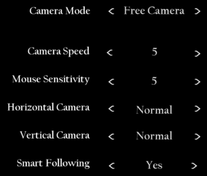 In-game camera settings.