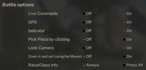 In-game battle settings.