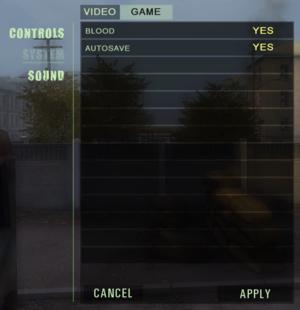 Game settings.