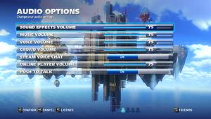 Audio settings in game.