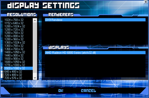 Display Settings in Killer App Mod modified Tron 2.0 game launcher, allowing non-4:3 resolutions