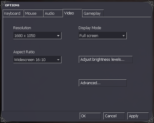 In-game general video settings.