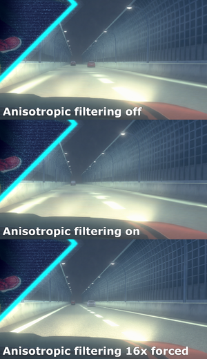 Comparison of the two game settings and externally forced 16x anisotropic filtering.