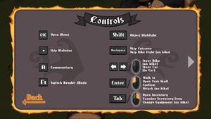 In-game keyboard controls menu