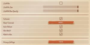 In-game game settings