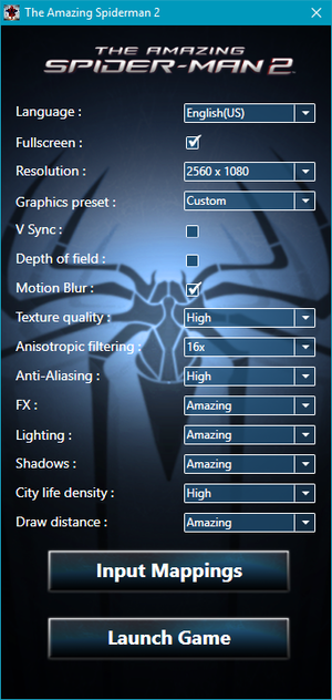 Game launcher featuring the graphics settings
