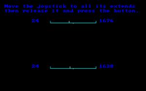Joystick calibration screen.