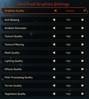 Advanced graphics settings