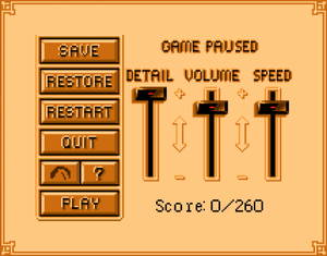 In-game options menu