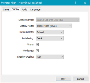 Display settings in the Configuration Tool