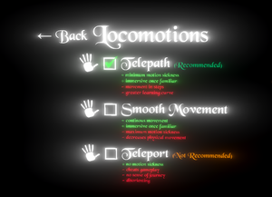 In-game locomotion settings.
