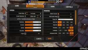 In-game video settings - Screen 1 of 2.