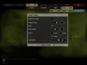 In-game general audio settings.