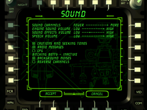Sound settings during flight.