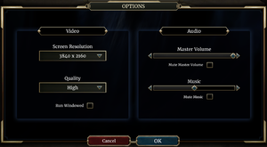 Video and audio options.