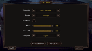 Options menu
