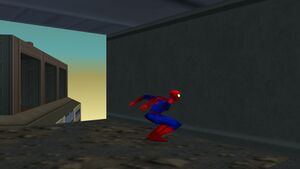 A demonstration of a bug that happens in a cut scene after Spider-Man chases Venom through a building. Spider-Man, after Venom leaps out of the building, follows a bugged path, causing him to turn right and jump into the wall he's facing to climb it for a few seconds.