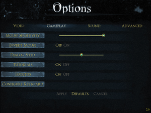 In-game input and gameplay settings.