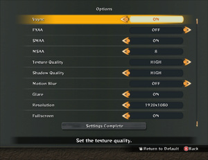 Graphics settings, can be accessed from title screen by pressing button corresponding to Y (O).