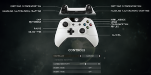 Controls settings.