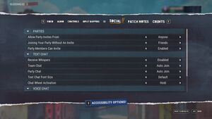 In-game Social settings.