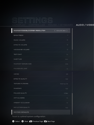 In-game audio/video settings.