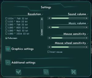 System settings.
