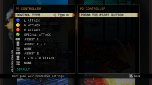 Controller mapping menu.
