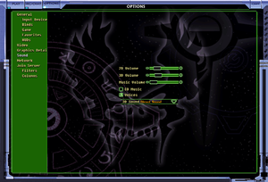 Starsiege: Tribes audio settings.