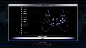 DirectInput controller configuration menu.