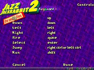 In-game keyboard key map settings.