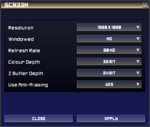 In-game screen resolution/rendering settings.