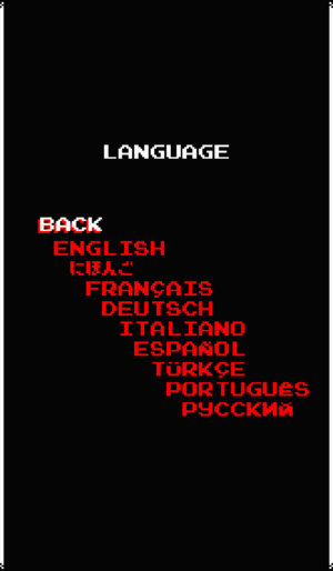 Language options.