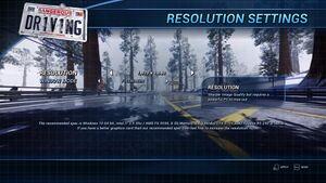 Resolution settings.