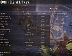 General control settings.