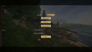 General options menu, including volume sliders.