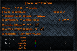 HUD settings.
