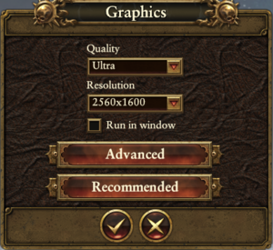 In-game basic video settings.